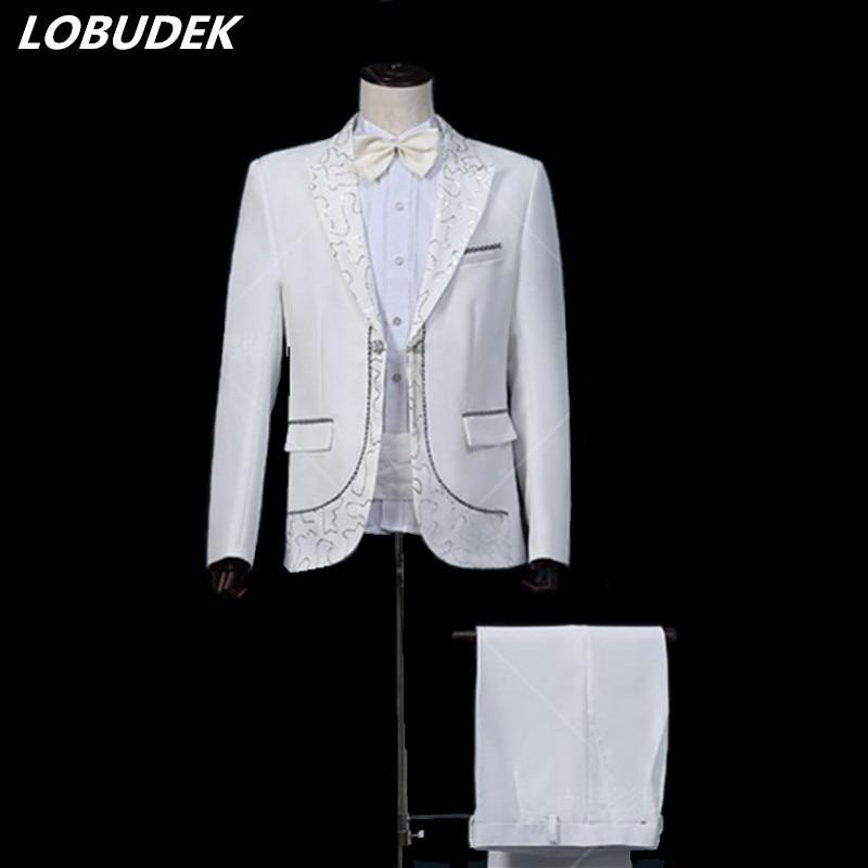 (jacket+pants+belt+bow tie) man groom white suits Costume male paillette formal dress suits men's clothing wedding prom groom