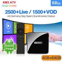 Sweden Spain Italian UK Germany IPTV KM3 Android TV 9.0 4G+64G BT Dual-Band WIFI Turkey Greece IUDTV 1 Year EX-YU