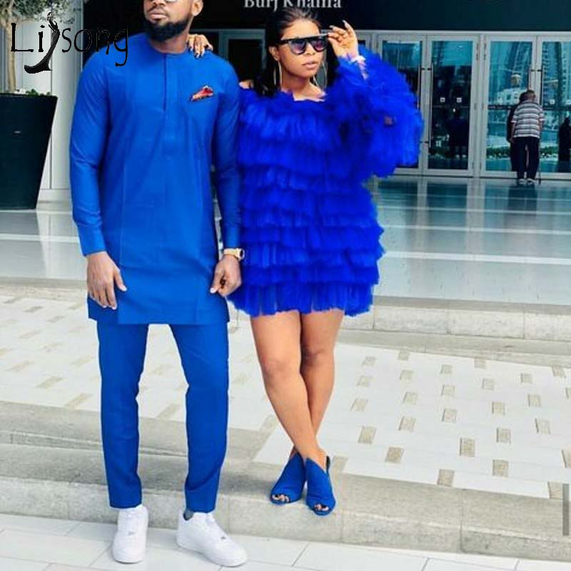Trendy 2019 Tiered Tutu Short Cocktail Dresses 2019 Royal Blue Prom Gowns Puffy Full Sleeves Mini Homecoming Dresses