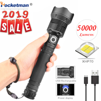 XHP70 40W 50000LM LED Flashlight Torch USB Rechargeable Flashlight zoomable linterna Tactical defense flashligh For Camping