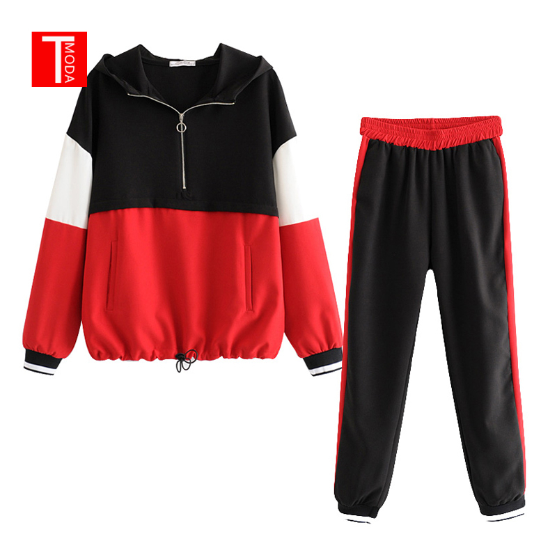 Set Female Vintage Red Contrast Color Baseball Bomber Pullover Jacket Women Tops And Pencil Jogging Pants Suits Two Piece Sets