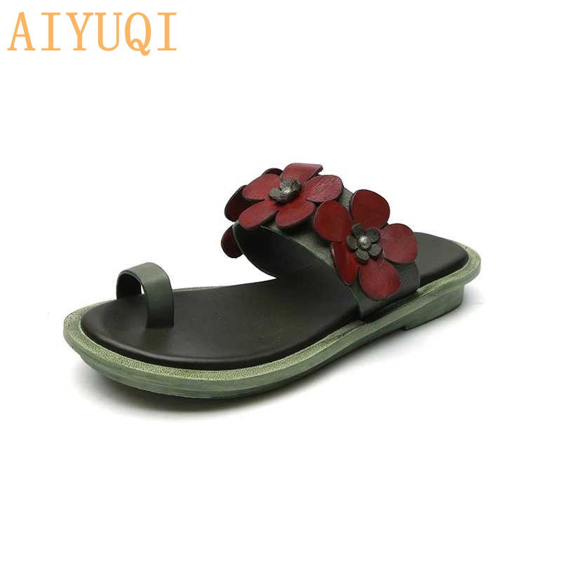 AIYUQI Women 39 s slippers genuine leather 2019 new beach slippers for women flat casual retro open toe flip flop summer footwear in Slippers from Shoes