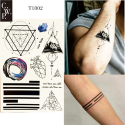 T1802 1 pieza de tatuaje temporal de línea geométrica con triángulo de montaña, línea, corazón y patrón de Roundness tatuajes de pintura corporal