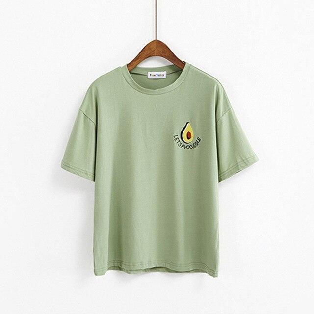 852df23b2e5 New Style Summer Cute Avocado Embroidery Short Sleeve T-shirt Womens Small  Fresh Casual Tees