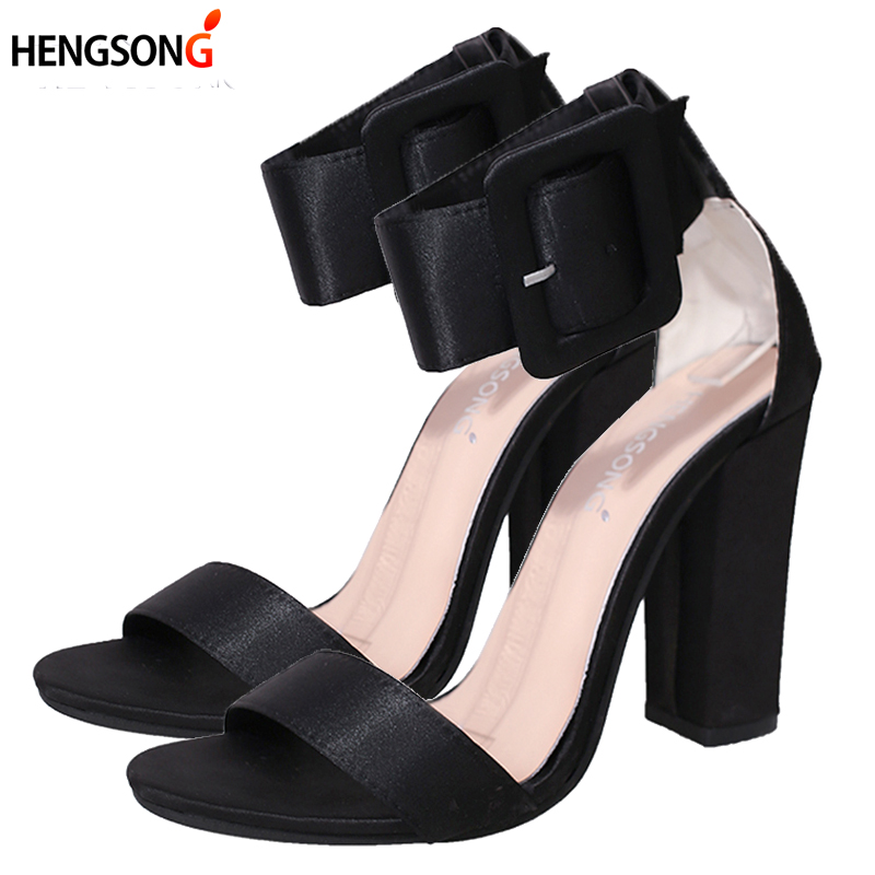 цены Woman Sandals Ankle Strap Buckle Pumps Women High Square Heels Shoes Peep Toe Summer Feminino Gladiator Sandals OR914975