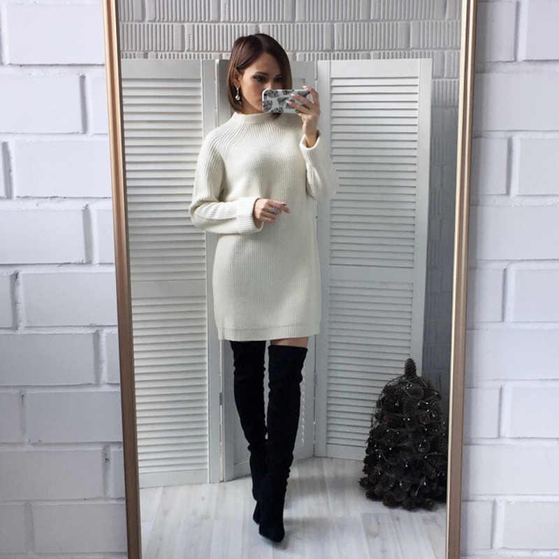 Chất Lượng cao Mùa Thu Mùa Đông Rắn Dệt Kim Cotton Áo Len Dresses Phụ Nữ Lỏng Lẻo O-Cổ Áo Thun Váy Vestidos Feminino Jumper