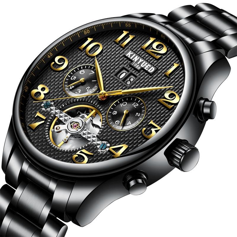 € 60.64 |KINYUED nuevo reloj suizo Moda hombre Acero inoxidable Tourbillon automático ahuecado reloj mecánico in Relojes mecánicos from Relojes de