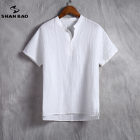 SHAN BAO Brand Men S Linen White T Shirt Summer Thin Section Comfortable Breathable High Quality