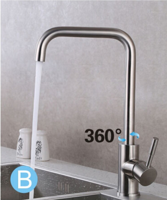 total 304 stainless steel no lead safe single lever nickel finished hot and cold kitchen sink faucet
