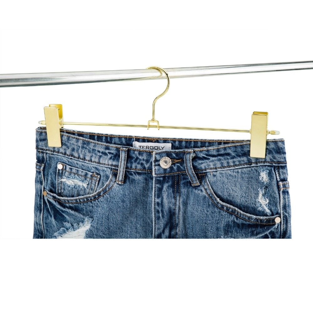 Hangerlink Gold Metal Heavy Duty Pants Skirt Slack Hangers, Trousers Hanger with Clips Hanger Rack Swivel Hook (12pcs/Lot)