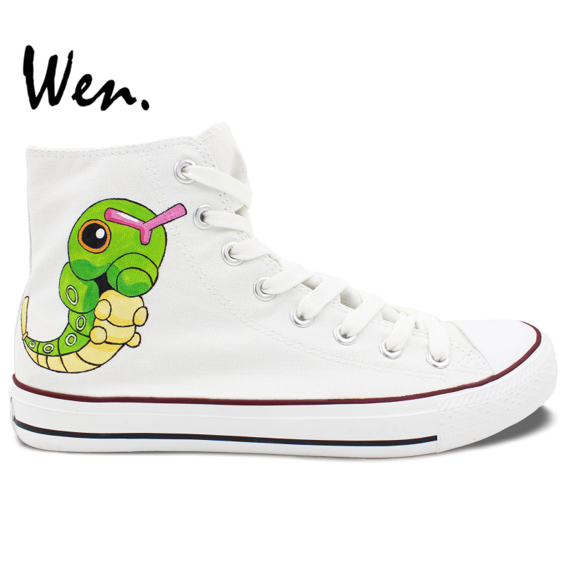 ФОТО Wen Men Women's Hand Painted Shoes Pokemon Pocket Monster Caterpie White High Top Canvas Sneakers for Boys Girls