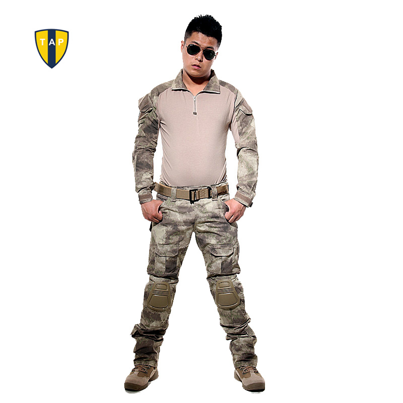 US Tactical Camouflage Military Uniform Army Suit Combat Shirt Multicam Military Shirts Knee Pad Pants Paintball