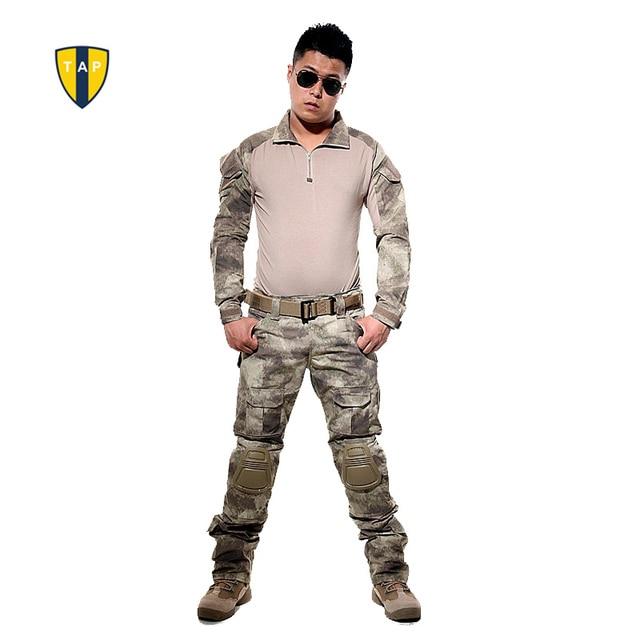 США тактическая камуфляжная военная форма армейский костюм боевая рубашка мультикам рубашки-милитари брюки с наколенниками Пейнтбол Охота Одежда