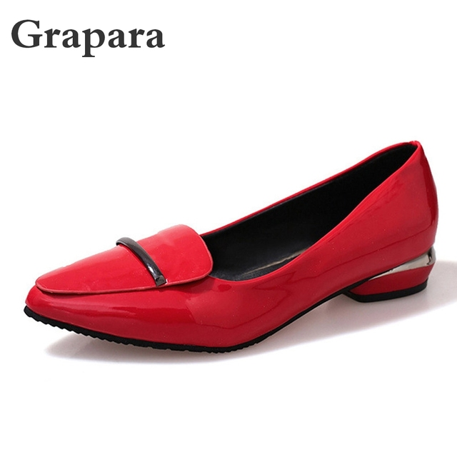 2018 New Arrival Shoes Woman Fashion Slip-On Pointed Toe Low Heel Pumps For Women Office Lady PU Leather Women Shoes Grapara