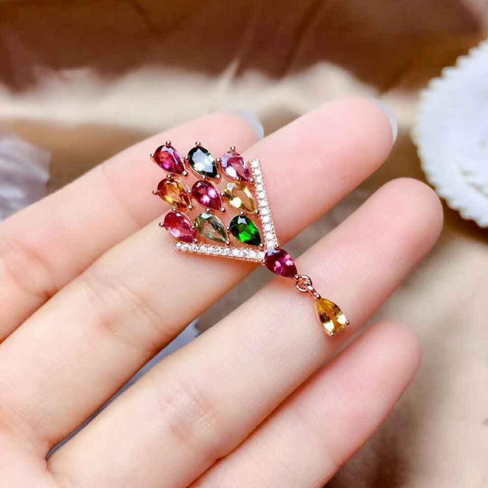 [MeiBaPJ] 925 Sterling Silver Natural Colorido Turmalina Colar Anel Brincos de Pedras Preciosas para As Mulheres Belas Jóias de Casamento Set