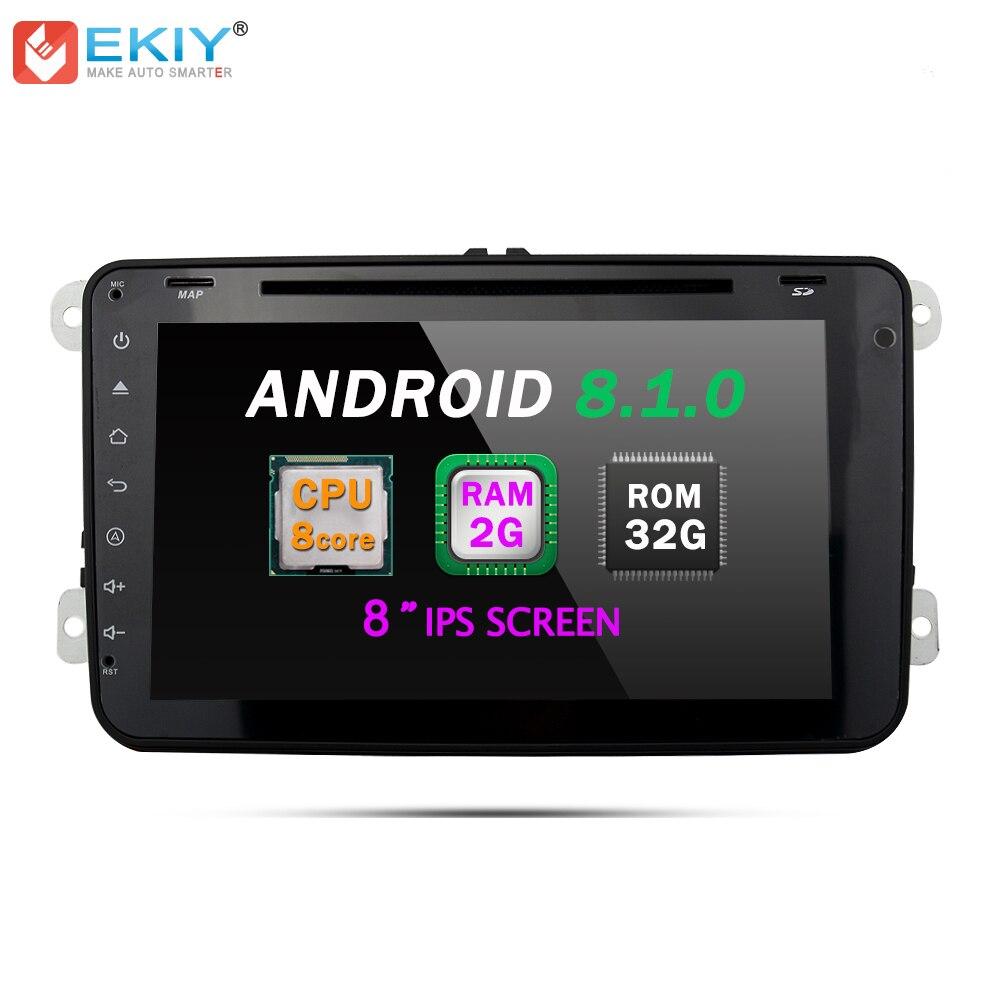 EKIY Android 8.1 Car DVD Player For VW Passat POLO GOLF Skoda Seat Leon Multimedia GPS Navigaiton WIFI USB Map 2 Din Auto Radio
