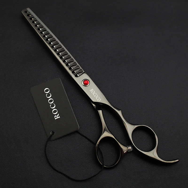 Professional Pet Thinning Scissor for Dog Grooming Stainless Steel Shark Teeth Hairdressing Style Clipper Shear Tool Pet Supply 7 5inch shark curved thinning scissor for dog grooming clipper dog trimmer scissor hairdressing supply shear clipper
