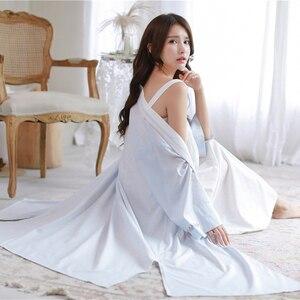 Image 5 - ローブナイトガウンガール女性パジャマ刺繍ロングローブ中国のレトロなスタイルローブセット