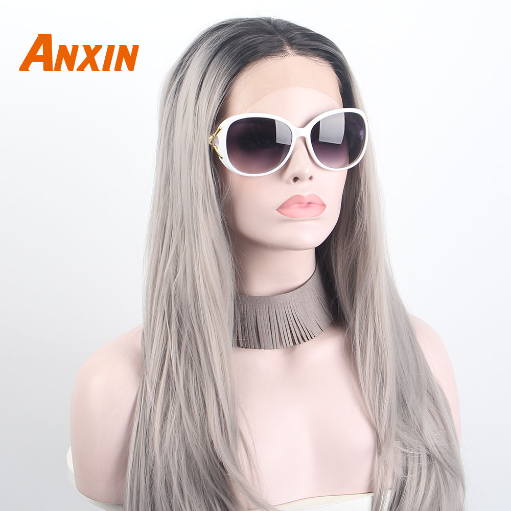 Lace Front Wigs Fashion Ombre Dark Grey Glueless 2 Tone Color Anxin Light Black Roots #12 Side Part Long Natural Straight Heat