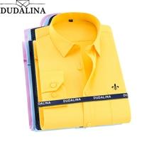 Dudalina 2019 Camisa Social Masculina мужская рубашка с длинными рукавами Классическая мужская рубашка в деловом стиле с вышитым логотипом
