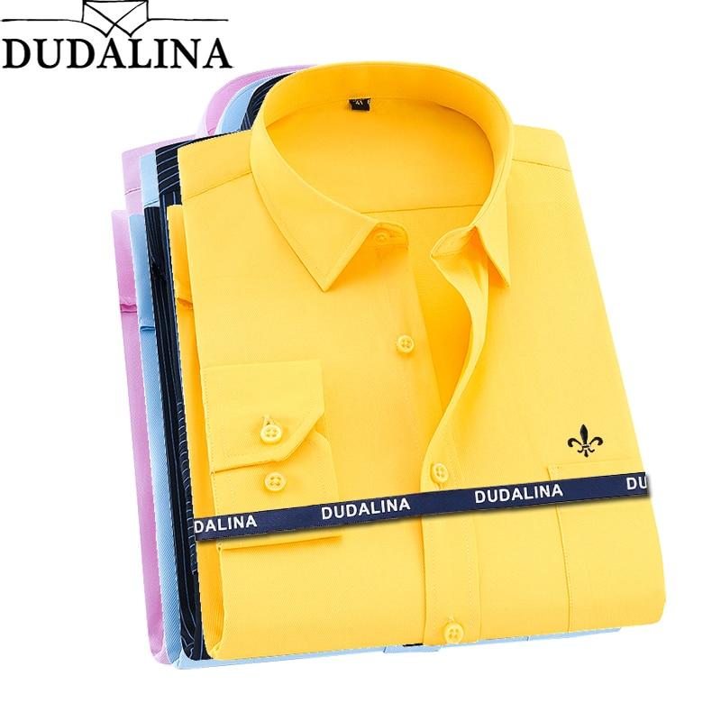 Dudalina 2020 Camisa Social Masculina Men Shirt Long Sleeved Classical Male Shirts Formal Business Shirt Man Embroidery LogoCasual Shirts   -