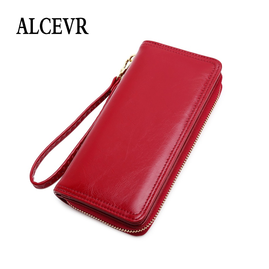 ALCEVR Solid Color Oil Wax Pu Leather Zipper Wallets Women Simple Style Money Purses Cute Sweet Candy Color Ladies Daily Purse