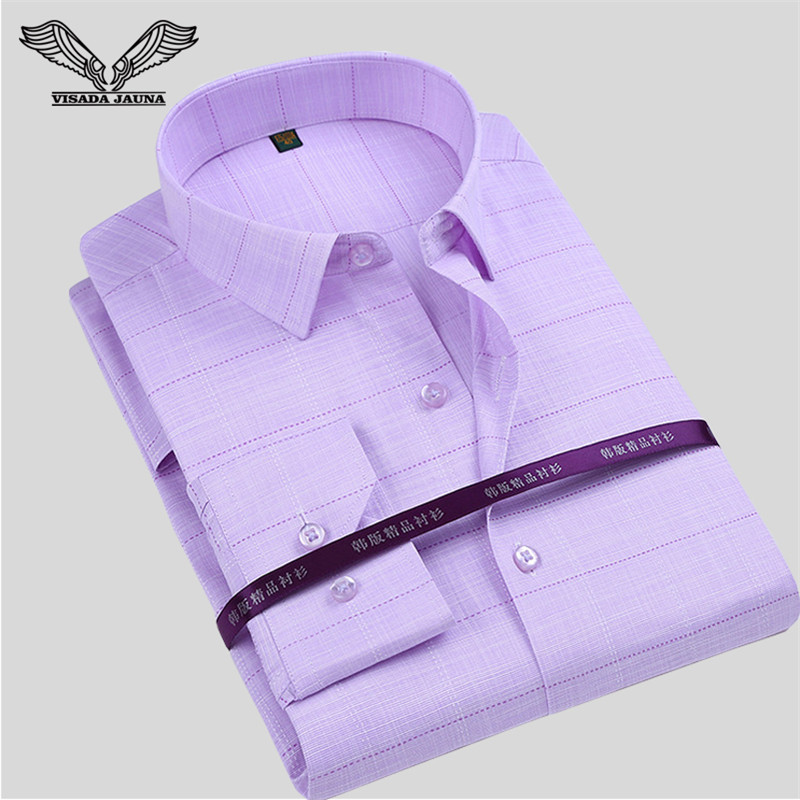 VISADA JAUNA Patchwork დაბეჭდილი მამაკაცის პერანგი ახალი ჩამოსვლა გრძელი ყდის ჩვეულებრივი მამაკაცის ბრენდის ტანსაცმელი გამხდარი Camisa Social Masculina N774