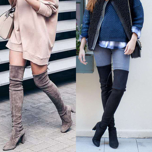 4e0db8f906 Bowtie Over The Knee High Women Boots Faux Suede Stretch Slim Boots Pointed  Toe High boots Shoes Woman 43 Size SWE0009