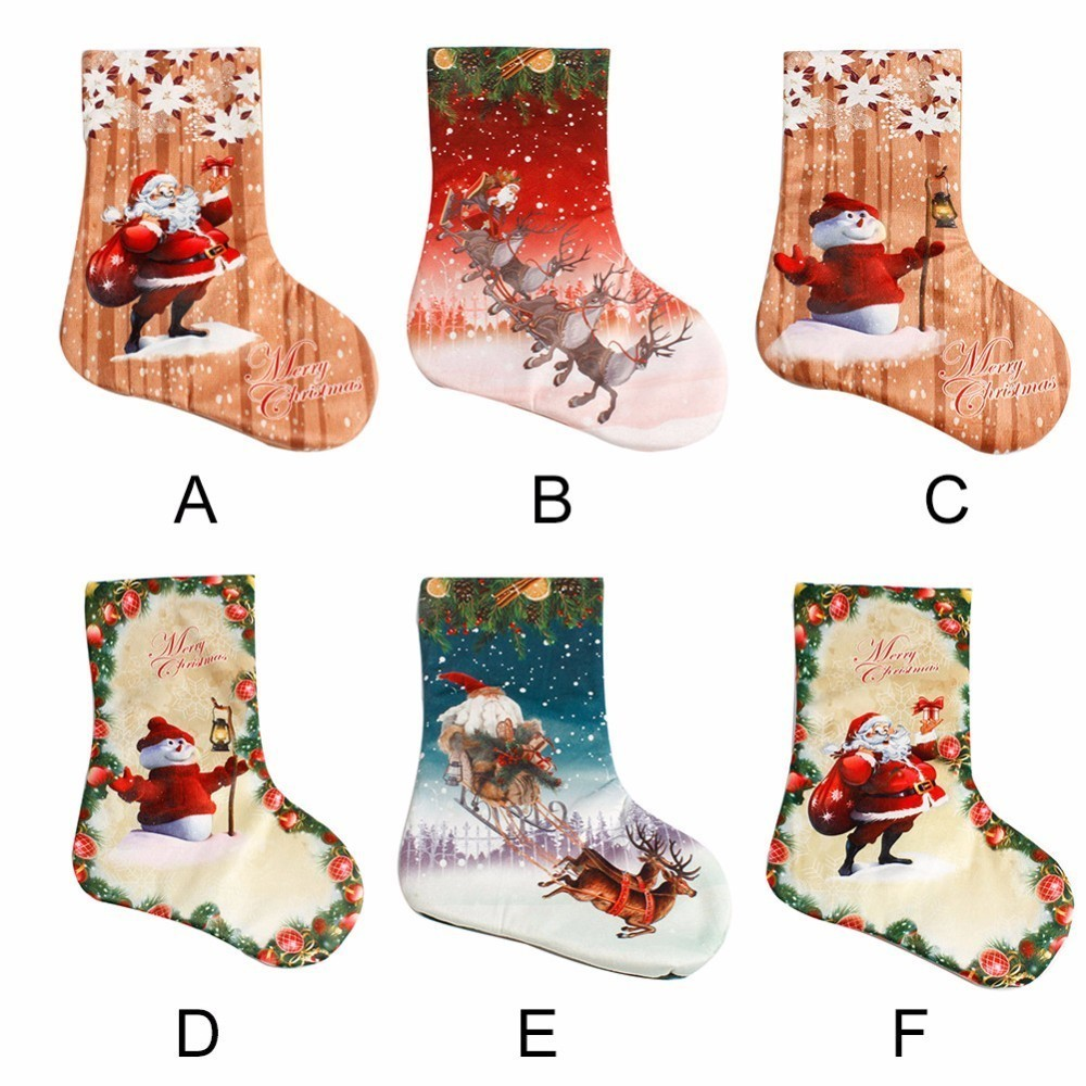 2017 New Year Decor Christmas Stockings Socks Plaid Santa Claus Candy Gift Bag Xmas Tree Hanging Ornament Decoration For Home