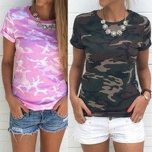Cool Summer Camouflage T-shirt For Women New Fashion Summer 2018 Short Sleeve Shirts Tops Women Casual Soft Tops Size S-4XL(China)