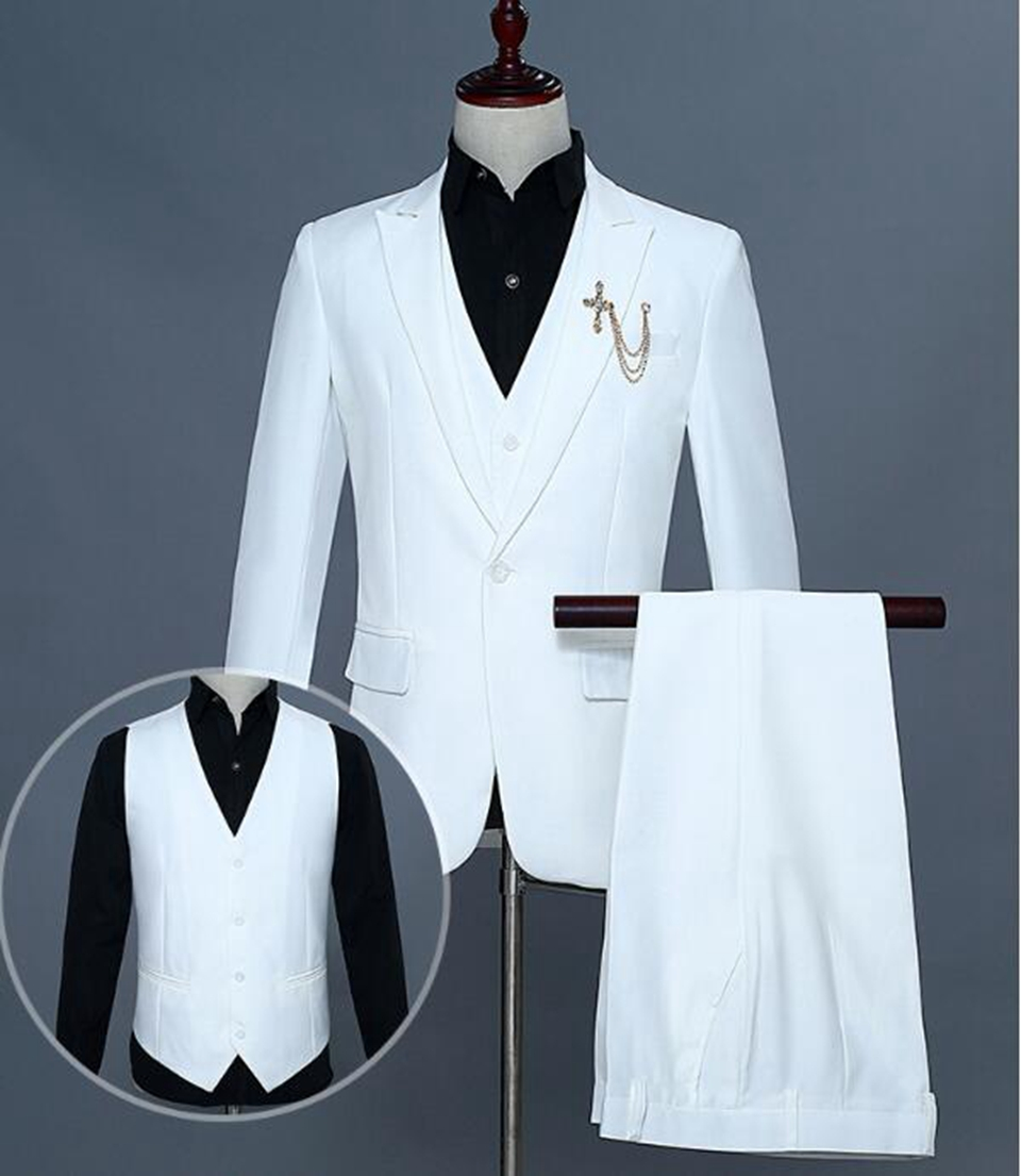 Mens fashion new style personality Korean version of the grooms dress majia costumes host color suit three suits / S-2xL