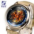 Наруто Xingyunshi Аниме LED Сенсорный Экран 3ATM Водонепроницаемый Кожаный Часы Часы Мужчины и Женщины Светящиеся Часы relogios masculino