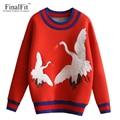 FinalFit Red Casual Sweatshirt Women, Embroidery Female Sweatshirt