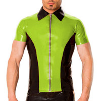 Latex Men Handsome Top Short Slevees Apple Green and Black Shirts With Zipper 0.4mm Size XXS XXL