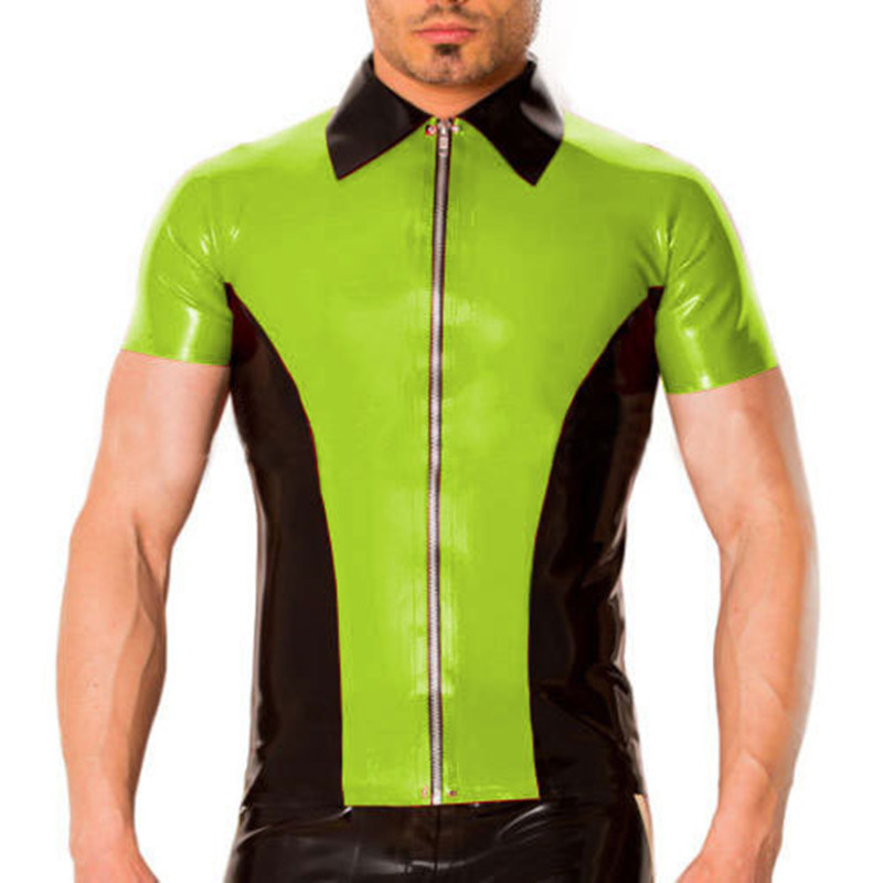 Latex hommes beau haut court Slevees vert pomme et noir chemises avec fermeture éclair 0.4mm taille XXS-XXL