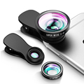 3 en 1 Lente de Fisheye + 10X Lente Macro + 0.4X GRAN ANGULAR Teléfono con Cámara de Lente lente + 2 Desmontables Abrazaderas Kit para el iphone Samsung HTC