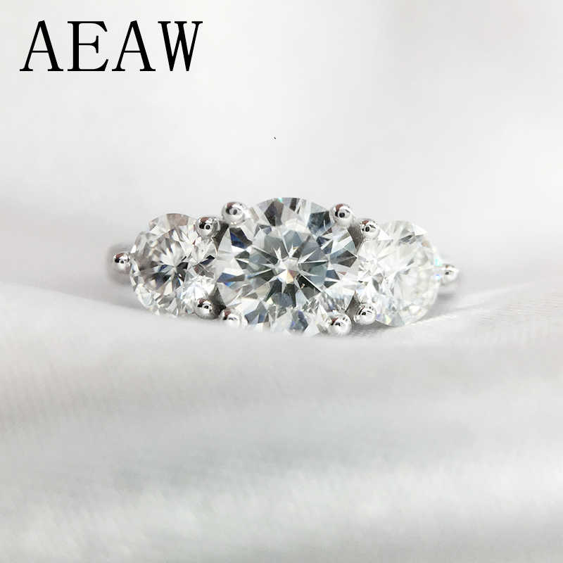 2ctw AEAW 6.5 milímetros Redonda Cut Engagement & Wedding Moissanite Anel de Diamante Duplo Halo do Anel de Platina Banhado A Prata