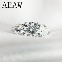 AEAW 2ctw 6.5mm Round Cut Engagement&Wedding Moissanite Diamond Ring Double Halo Ring Platinum Plated Silver
