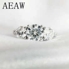 AEAW 2ctw 6.5mm Round Cut Engagement&Wedding Moissanite Diamond Ring Double Halo Ring Platinum Plated Silver - DISCOUNT ITEM  40% OFF All Category