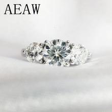 AEAW – bague Double Halo en diamant Moissanite, bague de fiançailles et de mariage, en argent plaqué platine, 6.5mm, 2ctw