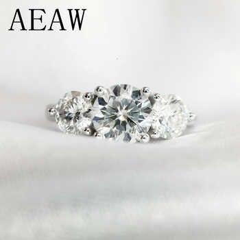 AEAW 2ctw 6,5mm Runde Cut Engagement & Hochzeit Moissanite Diamant Ring Doppel Halo Ring Platin Überzogene Silber