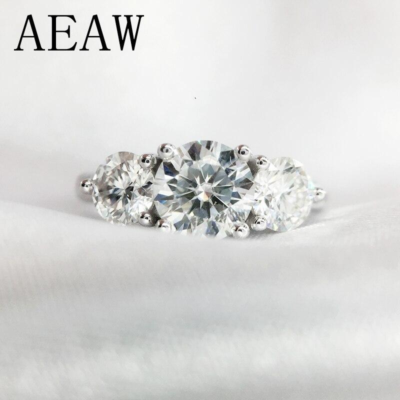 AEAW 2ctw 6.5mm bague de fiançailles et mariage coupe ronde bague en diamant Moissanite Double bague Halo en argent plaqué platine
