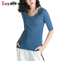 Women Pullovers 100%Merino Wool Knitted V Neck Half Sleeved Sweater 2018 FALL Winter Bottoming Knit Shirt