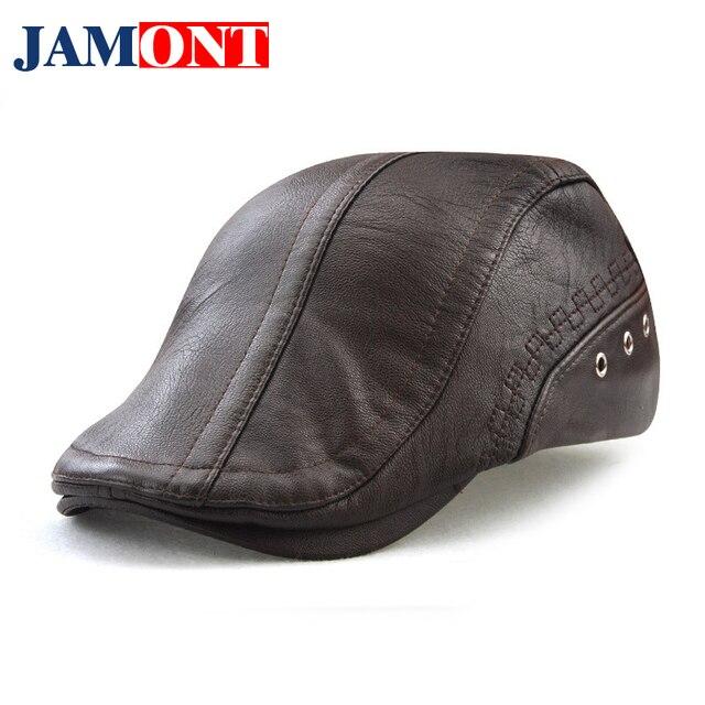 4199d93af0b Spring Autumn Winter Men s Beret Caps Fashion Accessories Men s Hats PU  Leather Male Baseball Cap Snapback