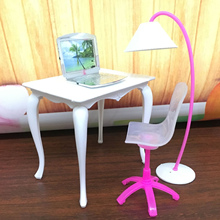 Kids 4PCS Simulation Mini Doll Office Table Desk Lamp Laptop Chair Miniature Doll House Furniture Accessories for Barbie Toy