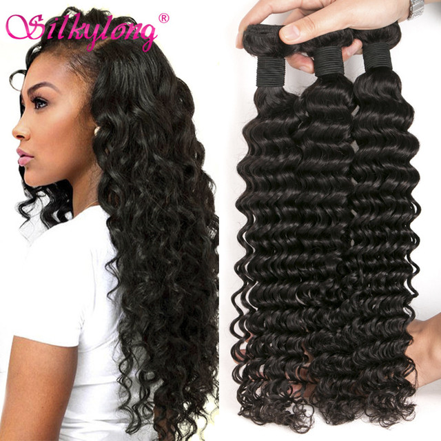 7A Brazilian Virgin Hair Deep Wave 3 Bundles Deep Wave Brazilian Hair Weave Bundles Brazilian Deep Curly Virgin Hair Human Hair
