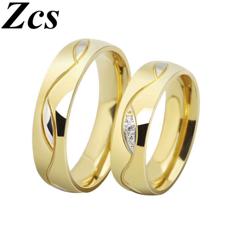 Online Shop Zcs Fashion Gold Filled Wedding Bands Vintage Engagement Rings For Women Men Jewelry Alliances Of Marriage CSR 025G