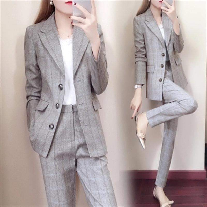 Plaid suit suit female spring and autumn 2018 New Korean ladies fashion Slim trousers casual two