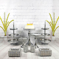 9 11pcs/ set Bling And Cupcake Crystal Dessert Display Plate Pop Decoration Party Set Wedding Cake Stand Mirror