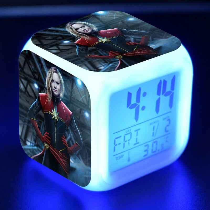 Marvel super heros capitão marvel figura led colorido flash luz mesa despertador brinquedos